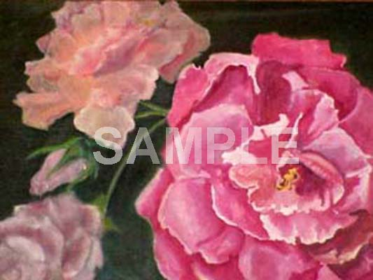 Fine art. Oil painting of Roses.